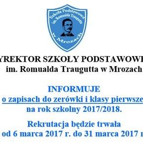 Zapisy do zerówki i klasy pierwszej na rok szkolny 2017-18